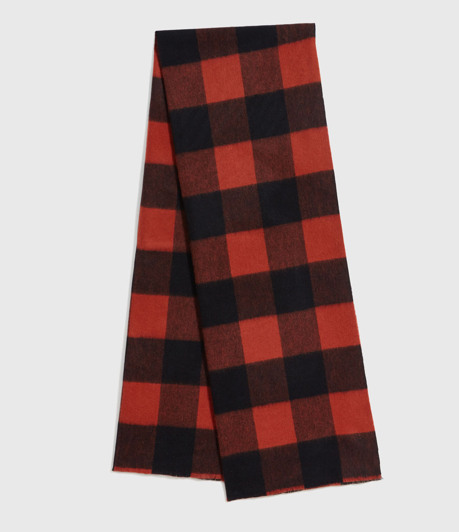 Men's Buffalo Check Wool Woven Scarf (brick_red_black) - Image 1