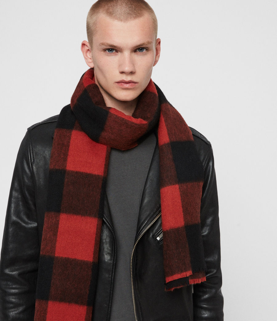 Men's Buffalo Check Wool Woven Scarf (brick_red_black) - Image 2