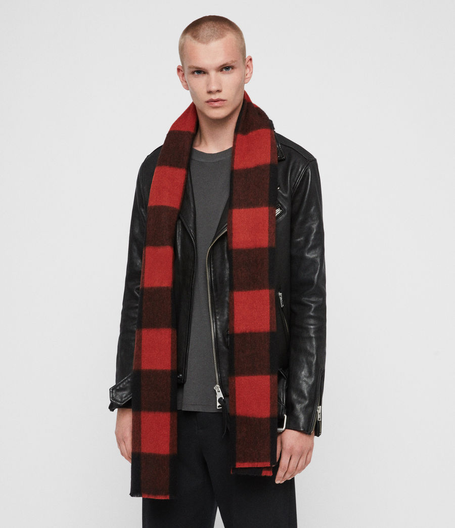 Men's Buffalo Check Wool Woven Scarf (brick_red_black) - Image 3