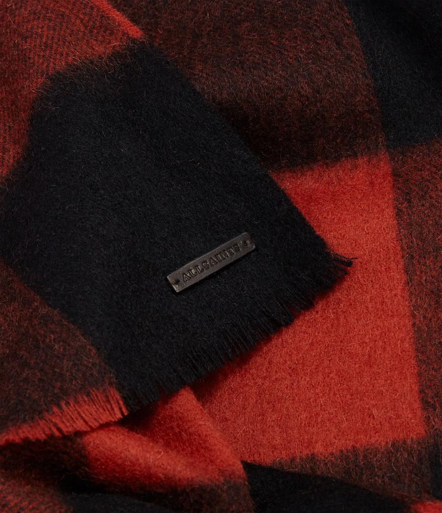 Men's Buffalo Check Wool Woven Scarf (brick_red_black) - Image 4