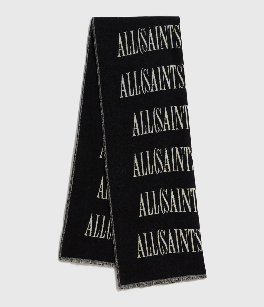 Men's Varsity AllSaints Wool Blend Woven Scarf (black_chalk) - Image 1