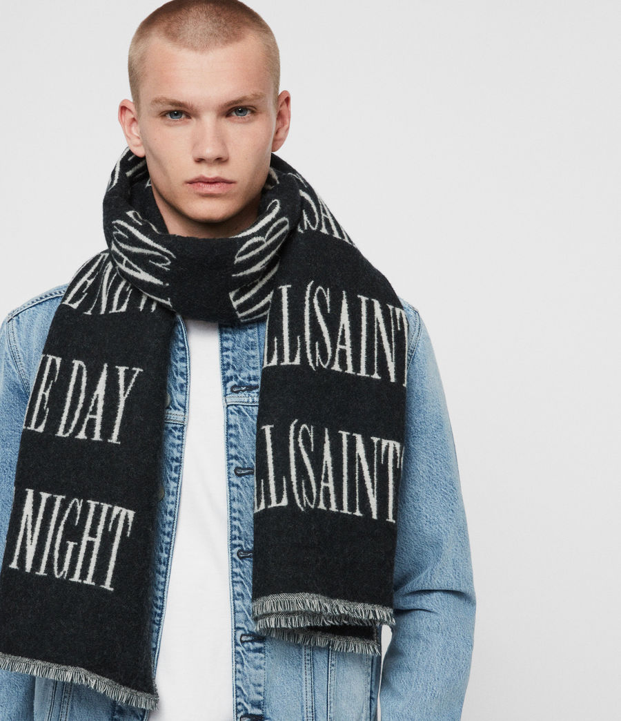 Men's Varsity AllSaints Wool Blend Woven Scarf (black_chalk) - Image 2