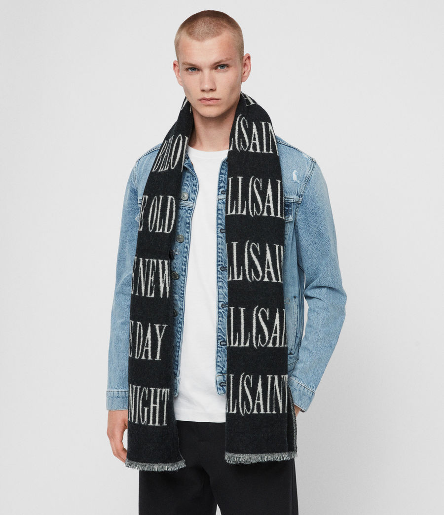 Men's Varsity AllSaints Wool Blend Woven Scarf (black_chalk) - Image 3