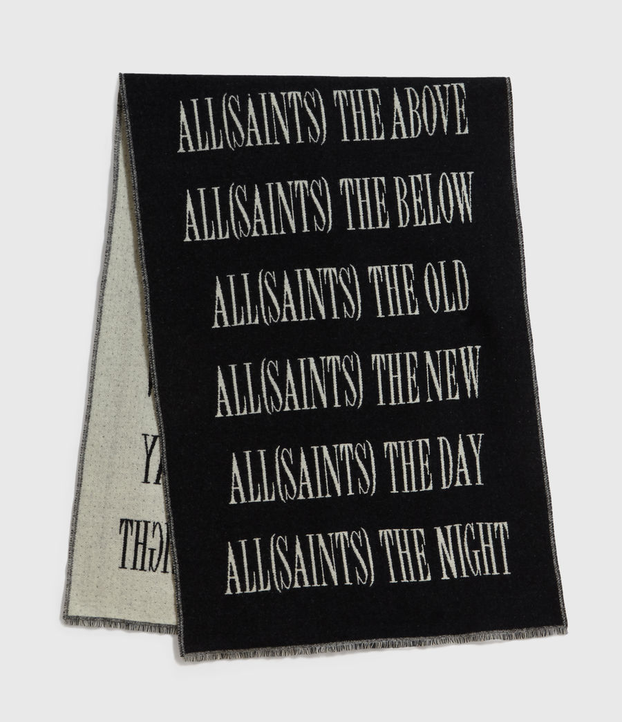 Men's Varsity AllSaints Wool Blend Woven Scarf (black_chalk) - Image 5