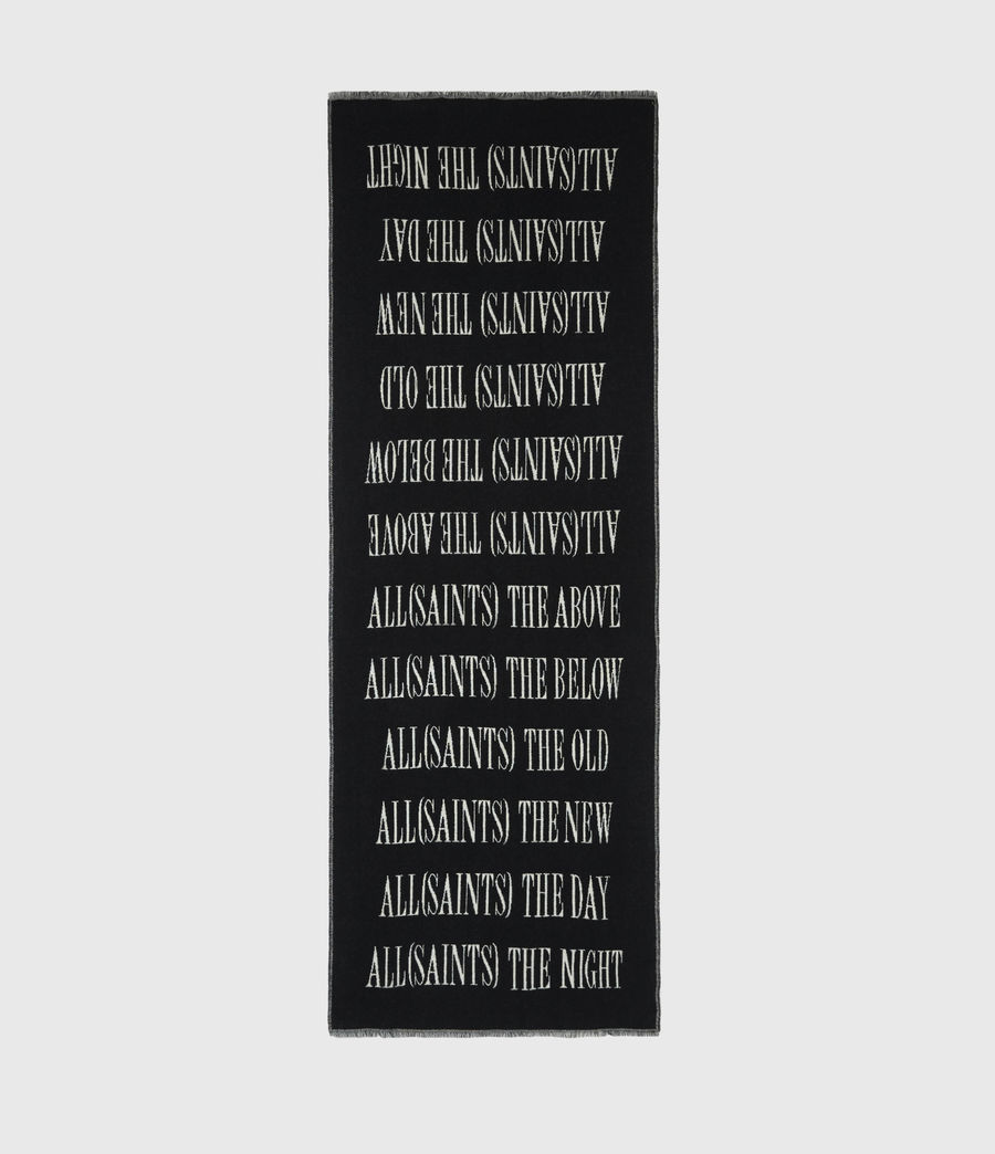 Men's Varsity AllSaints Wool Blend Woven Scarf (black) - Image 3