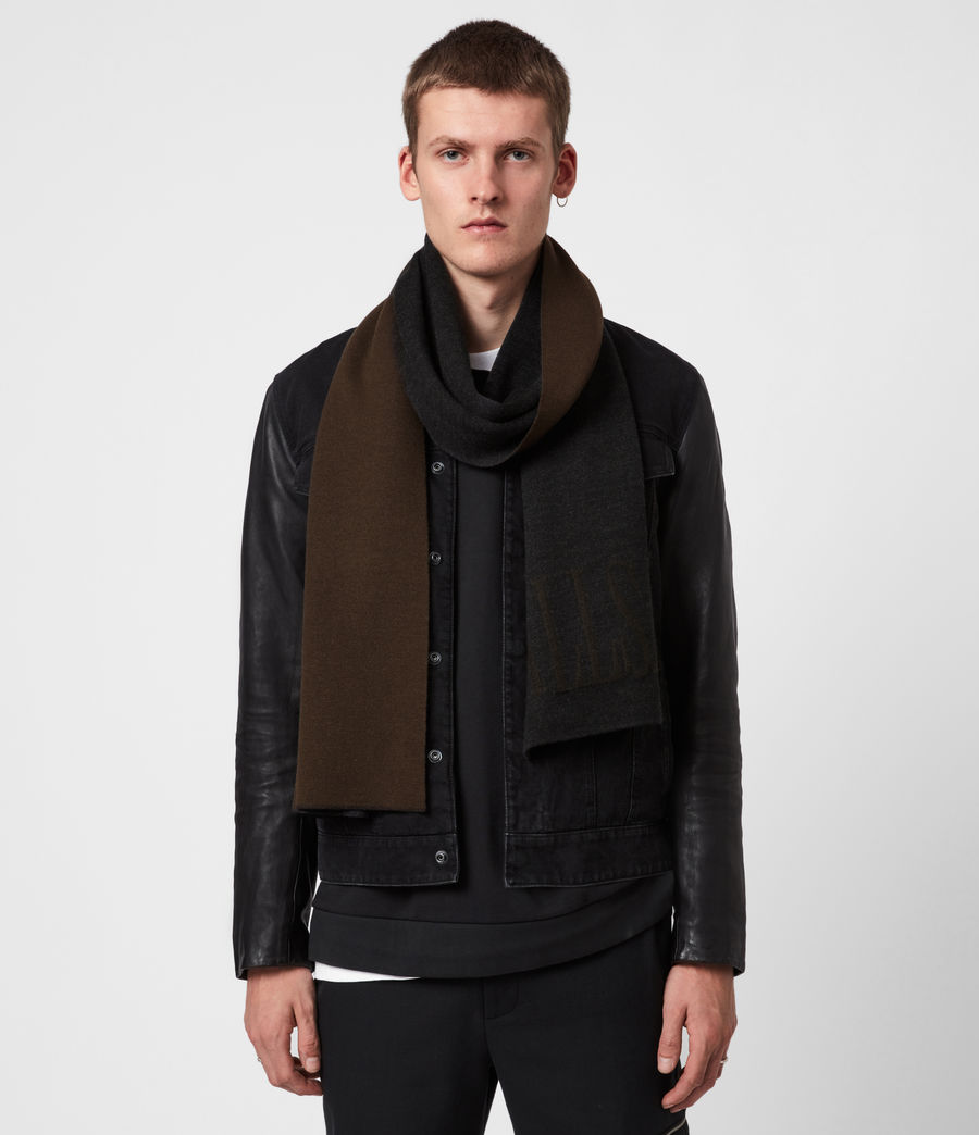 Men's Parka Merino Wool Scarf (black_army_green) - Image 1