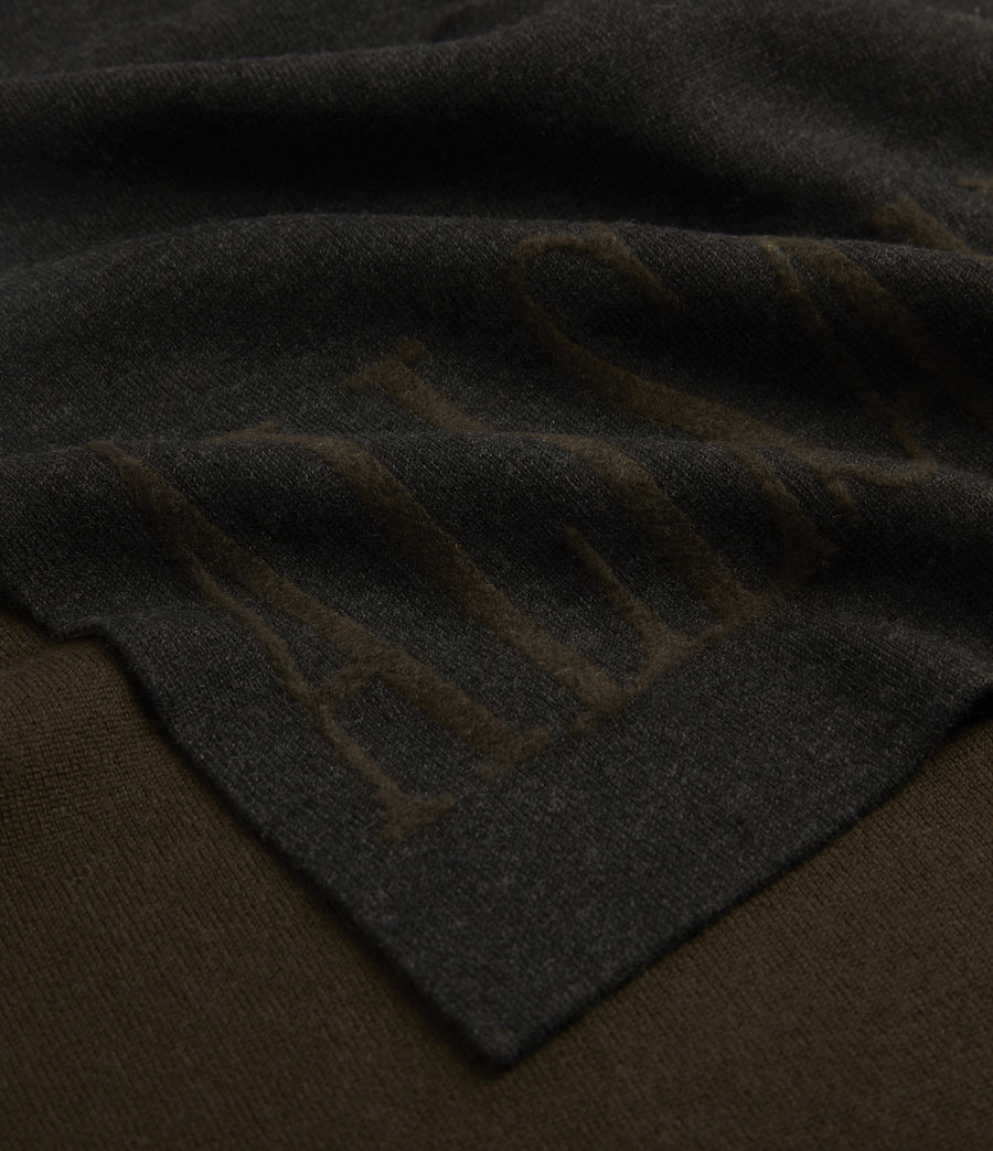 Men's Parka Merino Wool Scarf (black_army_green) - Image 3