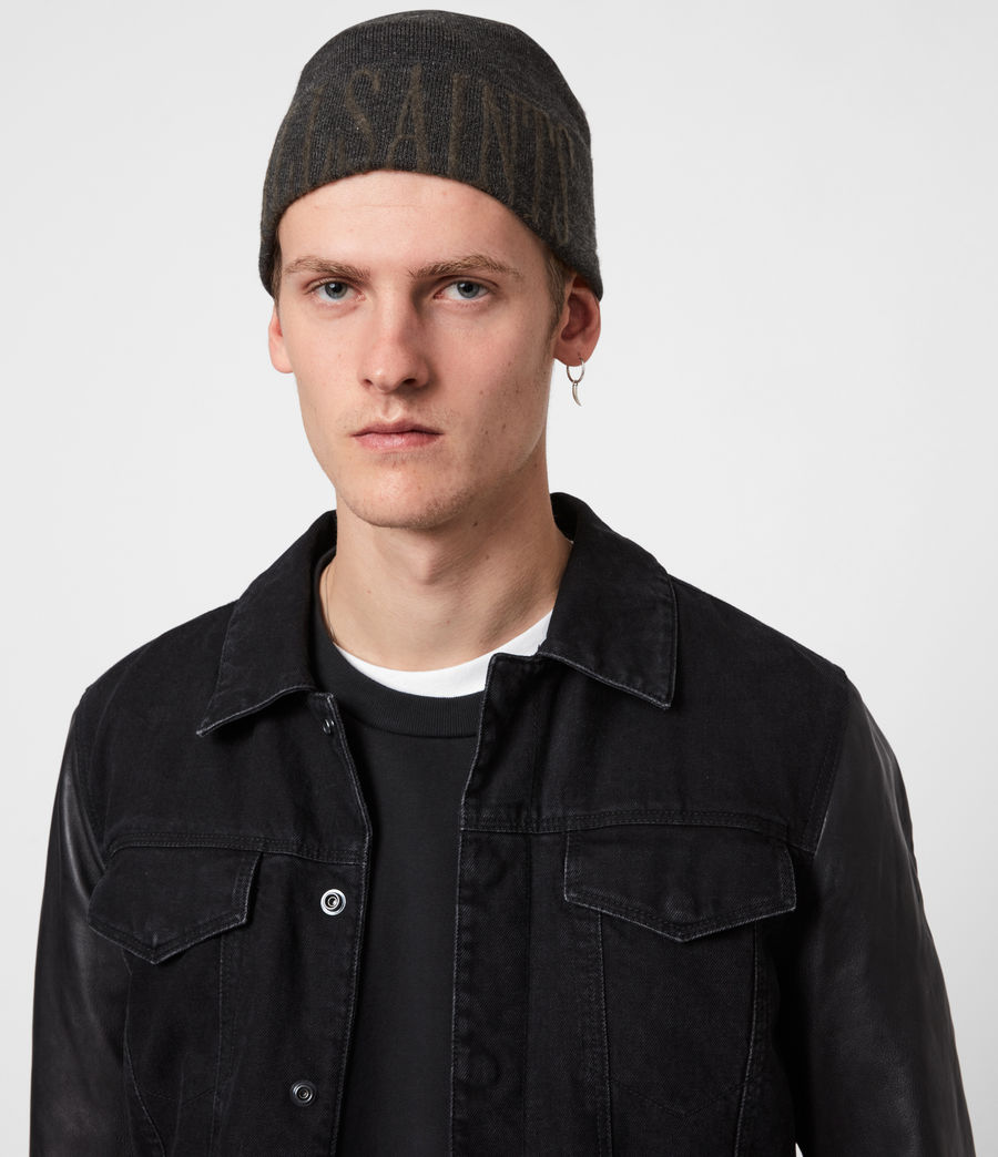 Men's Parka Cuff Merino Wool Beanie (black_army_green) - Image 1