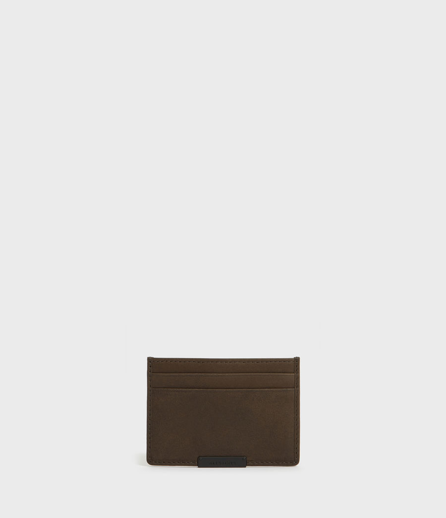 Mens Dove Leather Cardholder (dark_khaki_green) - Image 1