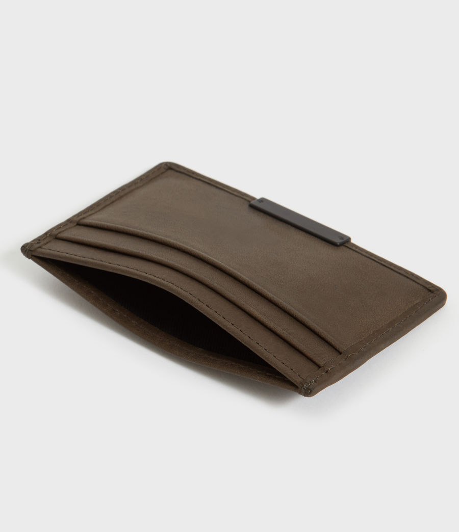 Mens Dove Leather Cardholder (dark_khaki_green) - Image 2