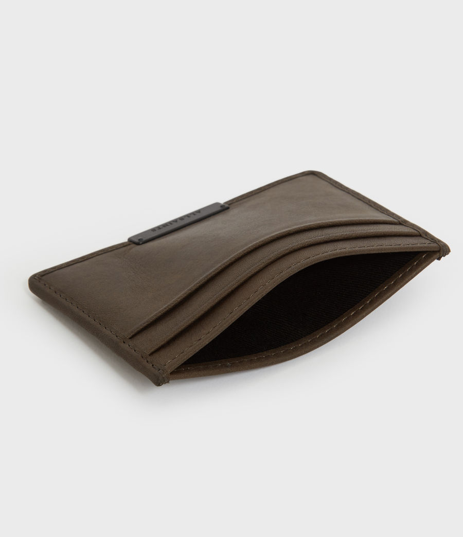 Mens Dove Leather Cardholder (dark_khaki_green) - Image 3