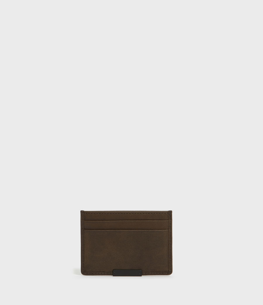 Mens Dove Leather Cardholder (dark_khaki_green) - Image 4