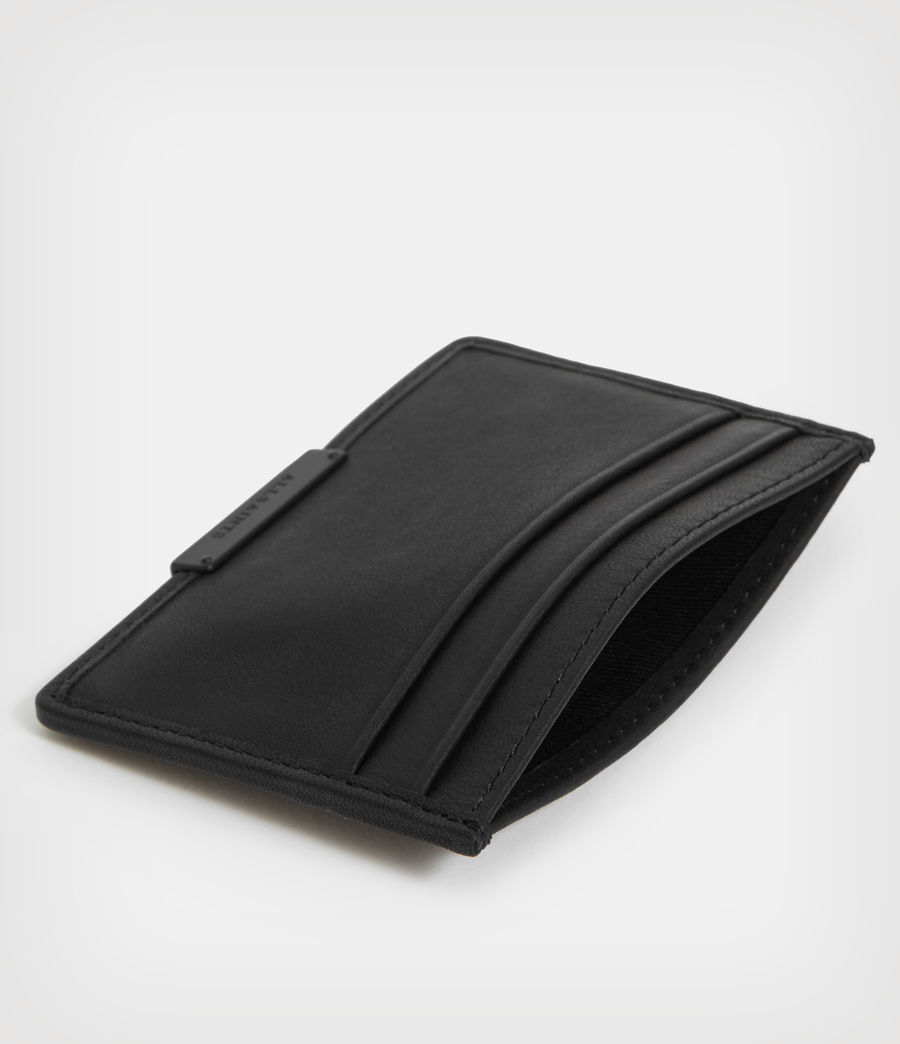 Mens Dove Leather Cardholder (black) - Image 2