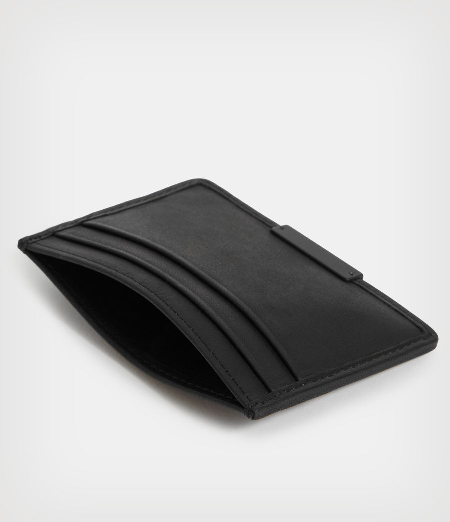 Mens Dove Leather Cardholder (black) - Image 5