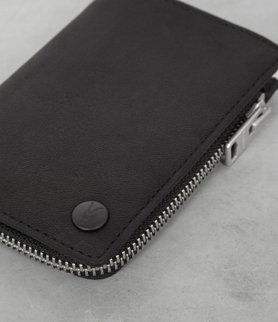 Mens Mast Leather Zip Wallet (black) - Image 2