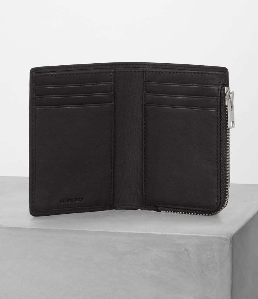 Mens Mast Leather Zip Wallet (black) - Image 3