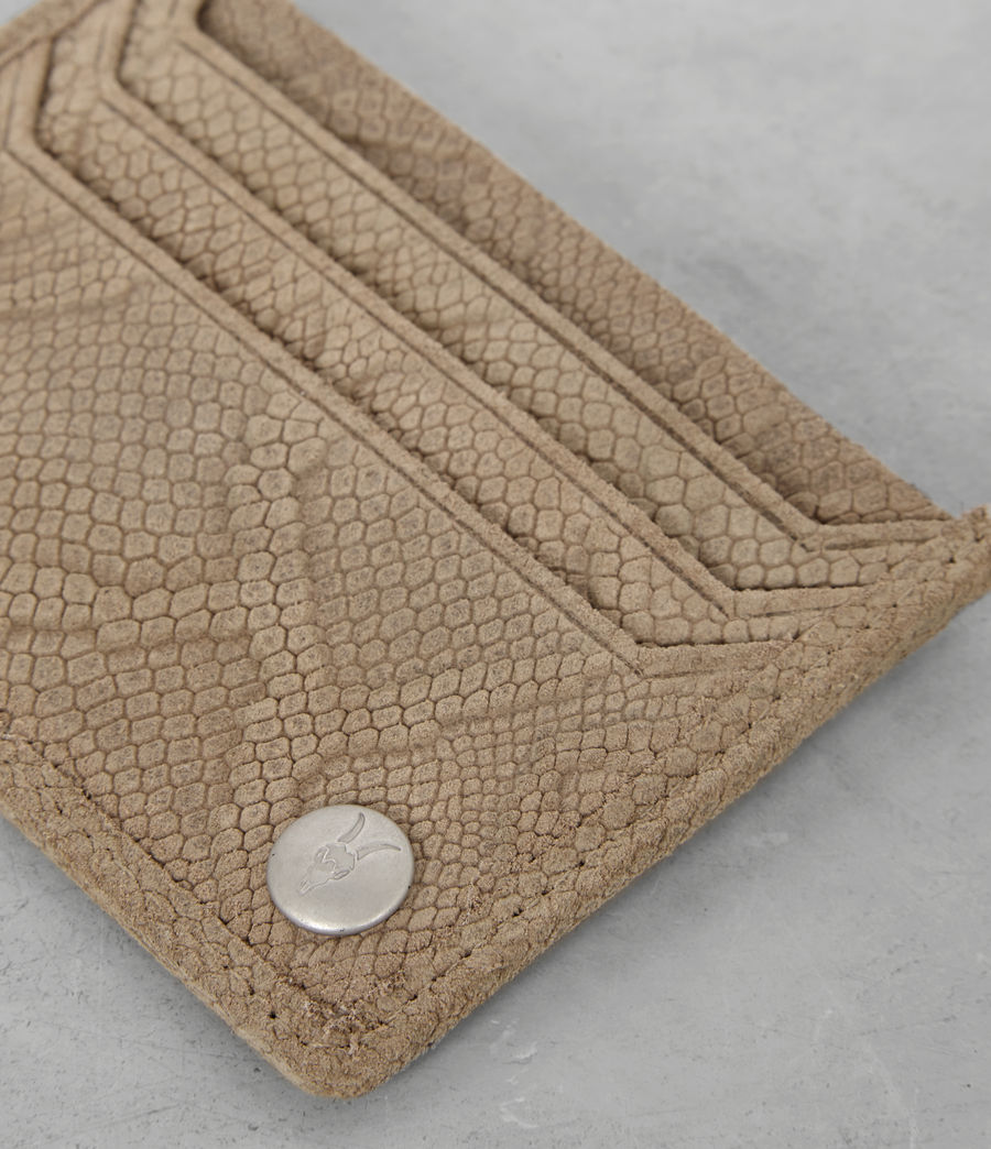 Mens Shard Leather Cardholder (taupe_emboss) - Image 2