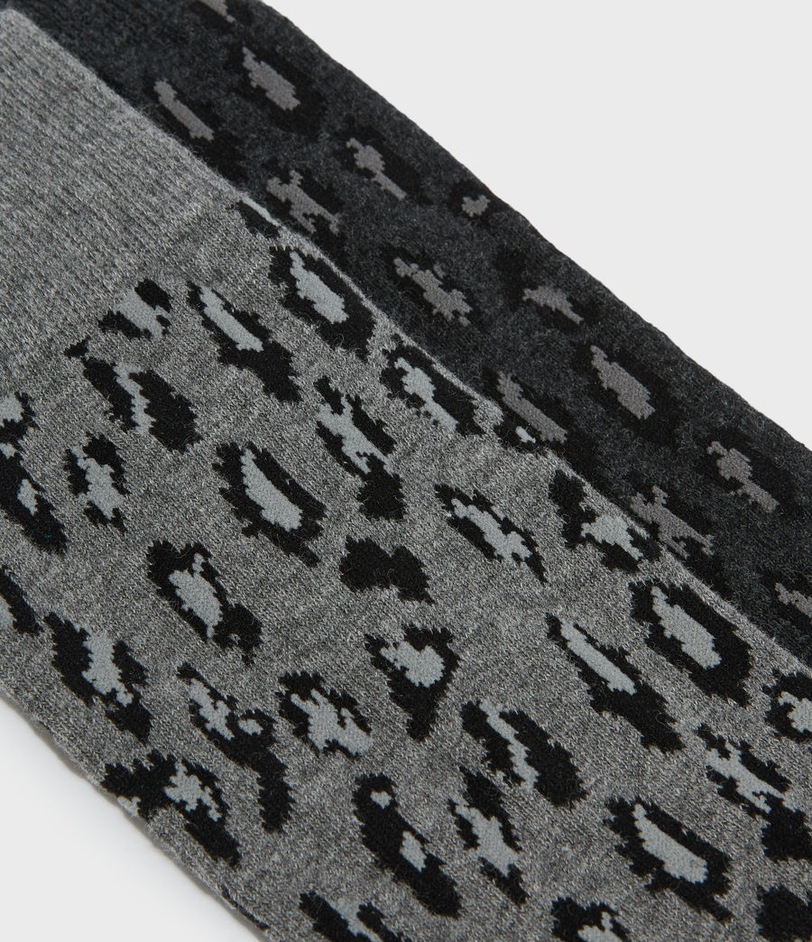 Mens Leopard Ramskull 2 Pack Socks (charcoal_ink_navy) - Image 3