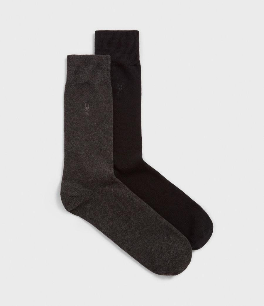 Mens Solid Ramskull 2 Pack Socks (black) - Image 1