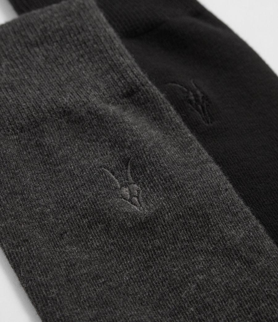 Mens Solid Ramskull 2 Pack Socks (black) - Image 2
