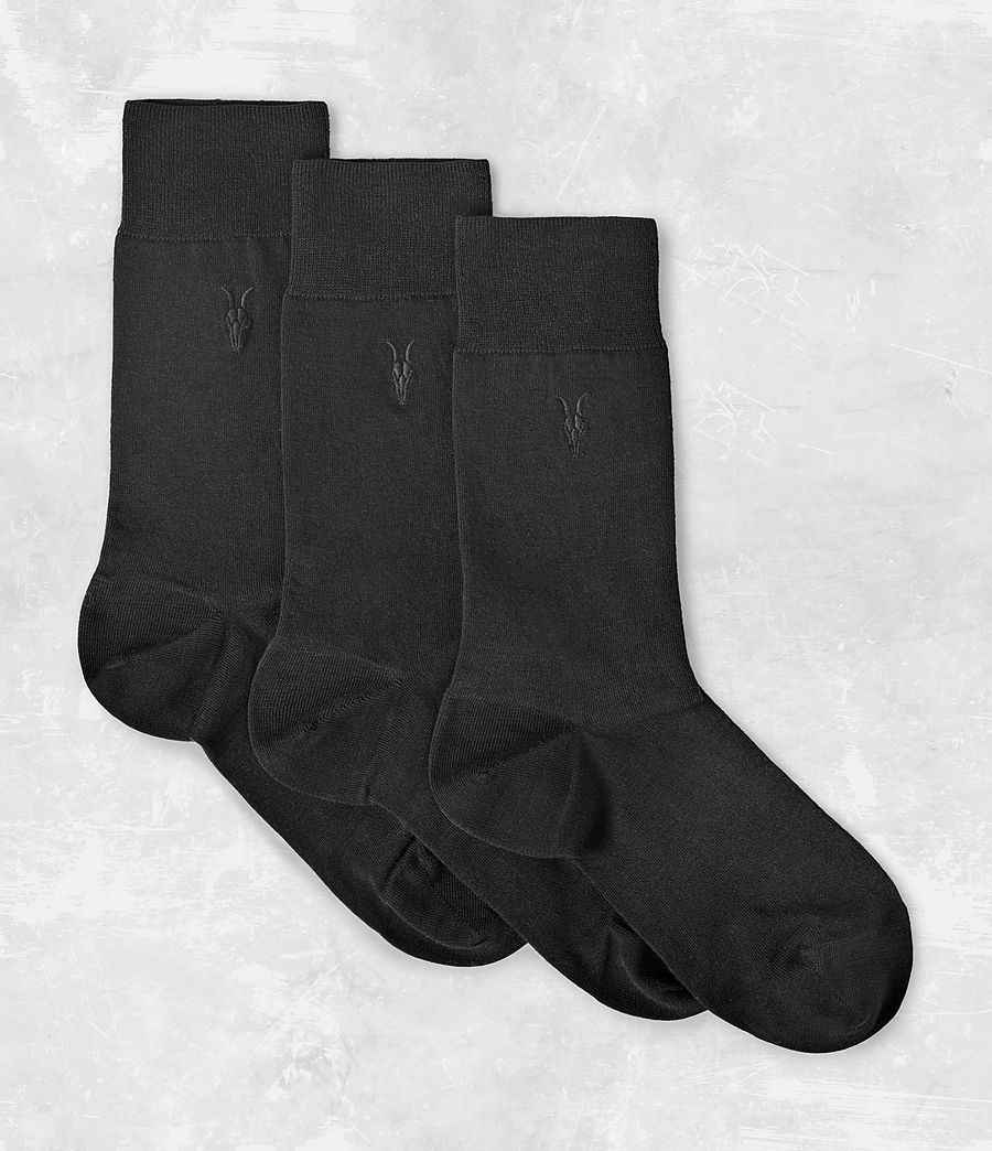 Mens Rue Socks 3 Pack (black) - Image 1