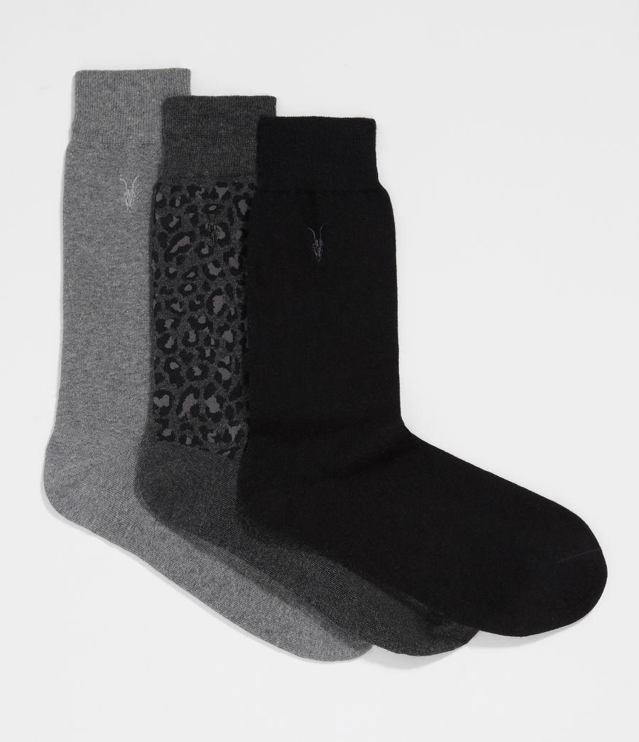 Men's Leopard Ramskull 3 Pack Socks (cinder_black_marl) - Image 1
