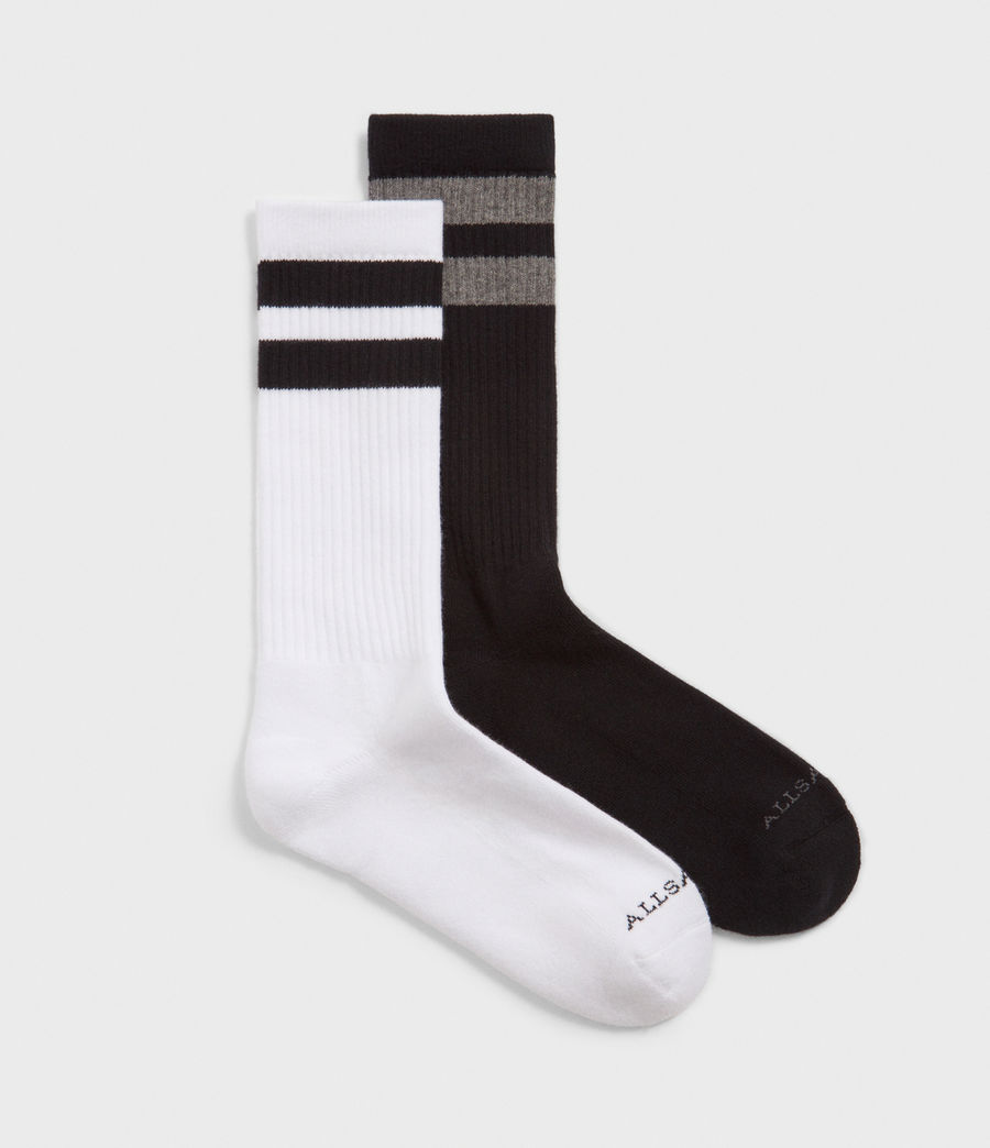 Men's Stripe Sport Socks 2 Pack (black_white) - Image 1