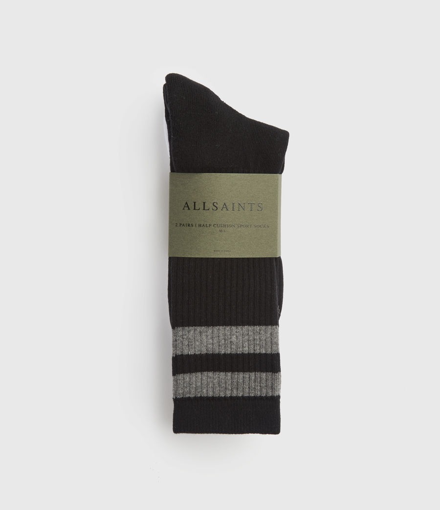 Hombre Pack de 2 Pares de Calcetines Stripe Sport (black) - Image 4