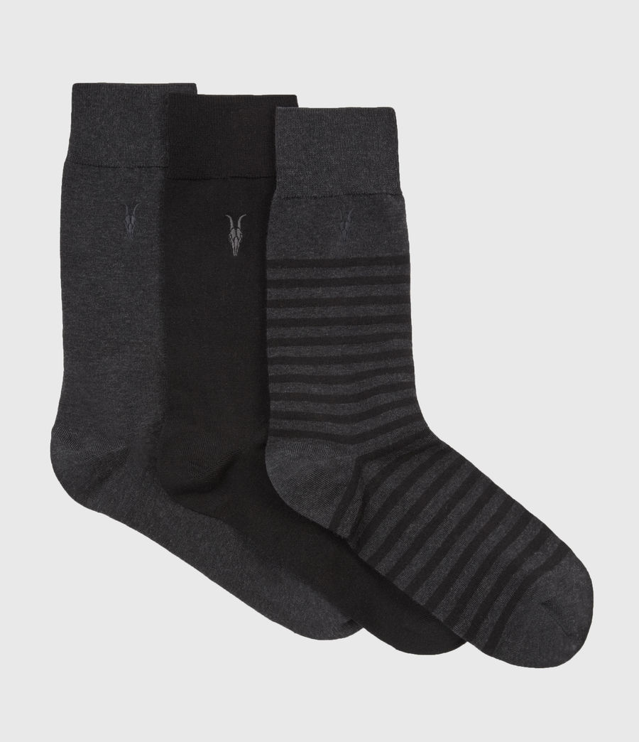 Men's Three Pack Breton Socks (black_charcoal) - Image 1