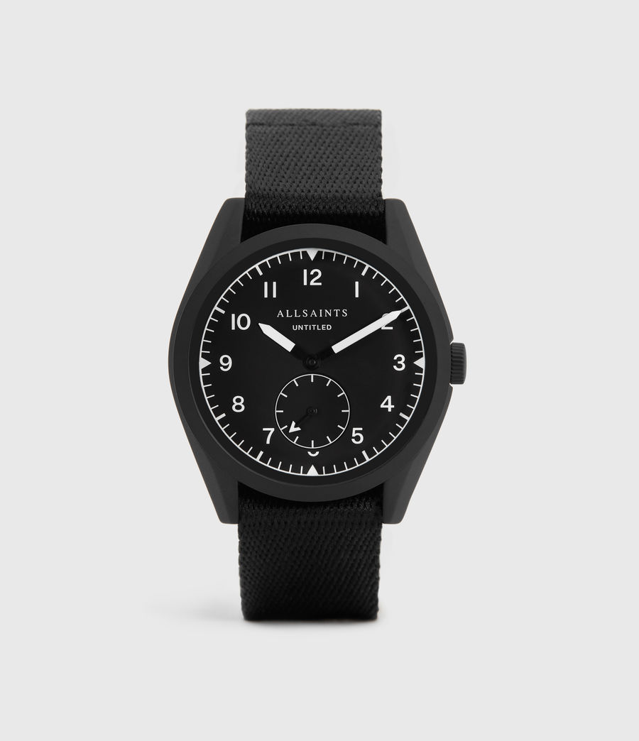 Mens Untitled I Matte Black Stainless Steel and Black Nylon Watch (black) - Image 1