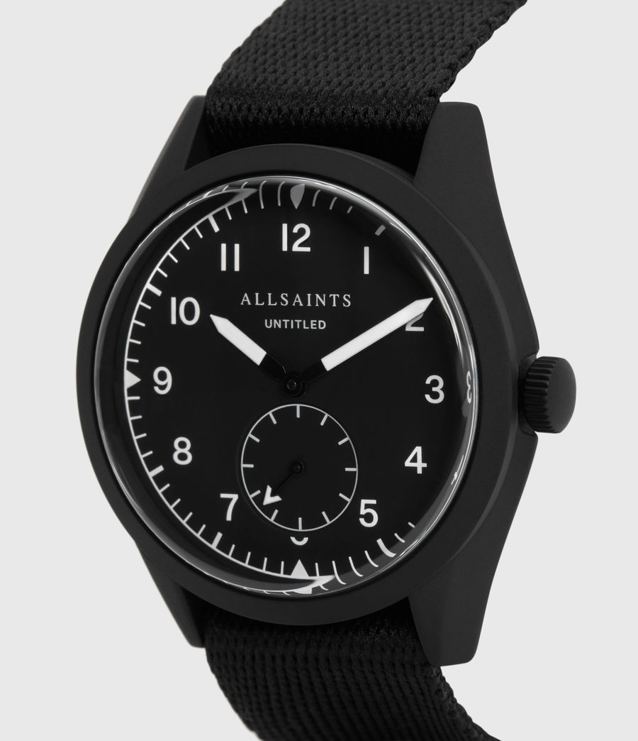 Mens Untitled I Matte Black Stainless Steel and Black Nylon Watch (black) - Image 2