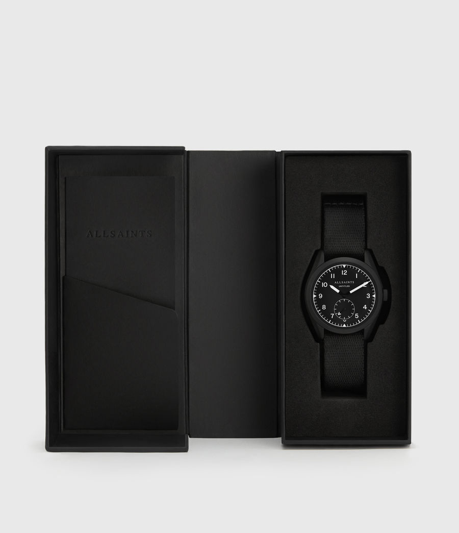 Mens Untitled I Matte Black Stainless Steel and Black Nylon Watch (black) - Image 5