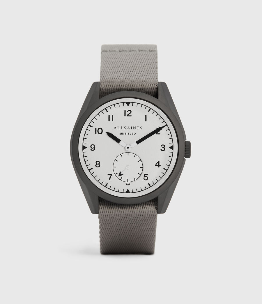 Mens Untitled II Gunmetal Stainless Steel and Grey Nylon Watch (grey) - Image 1