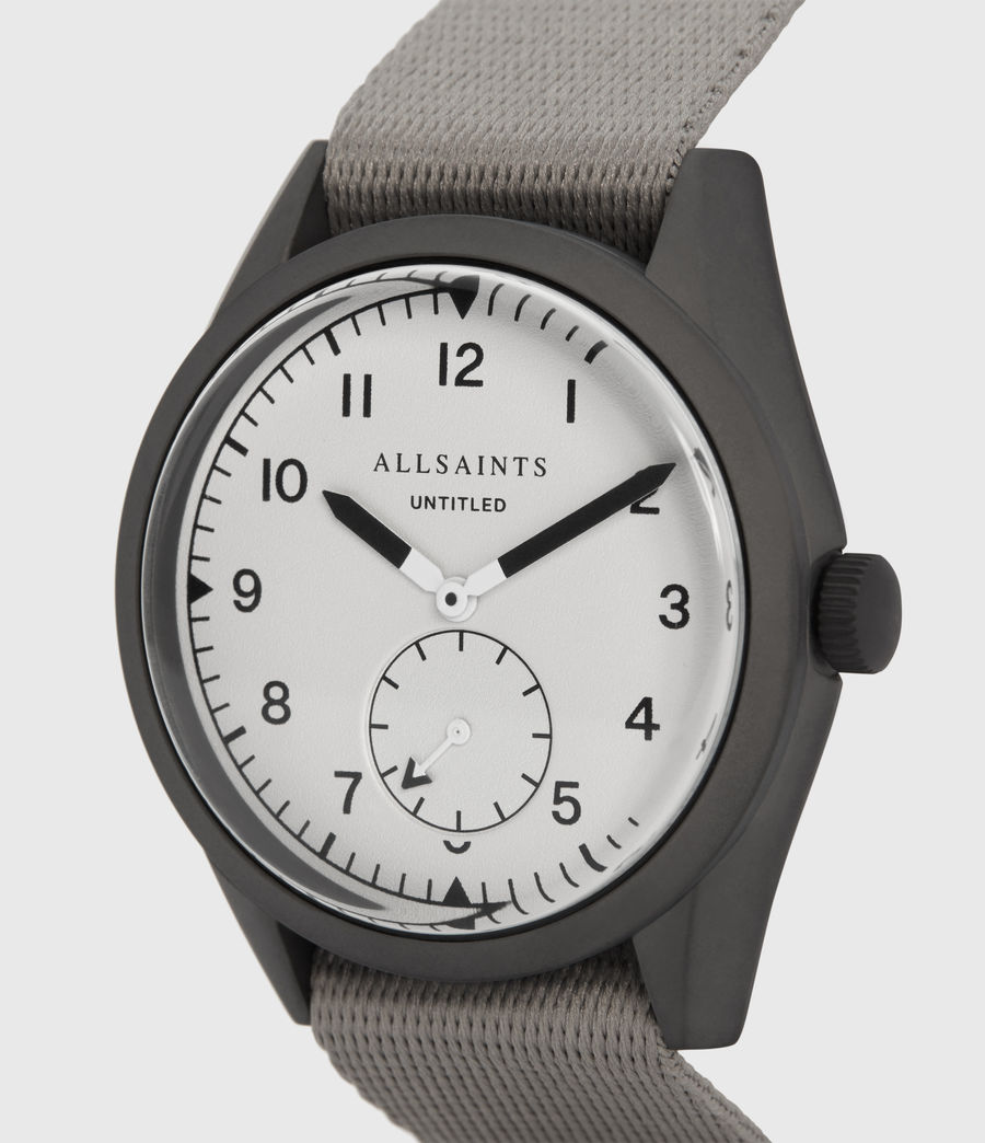 Mens Untitled II Gunmetal Stainless Steel and Grey Nylon Watch (grey) - Image 2