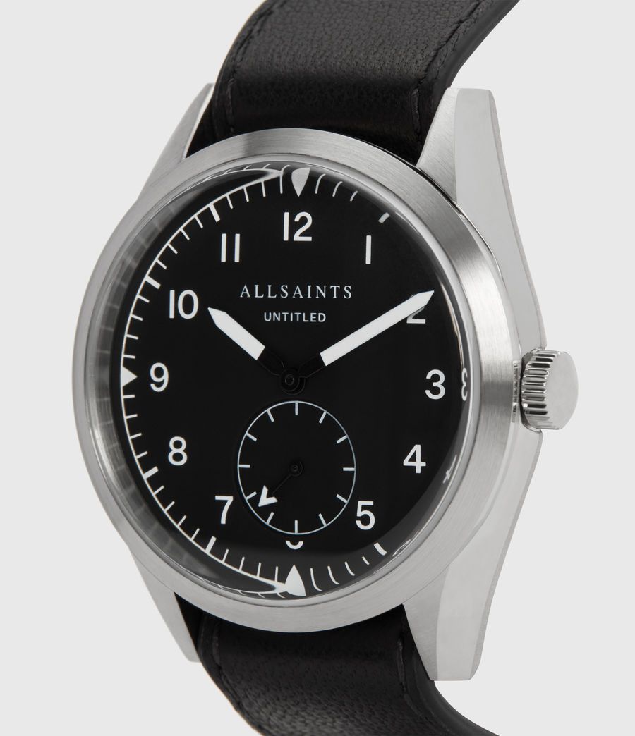 Mens Untitled III Stainless Steel and Black Leather Watch (black) - Image 2