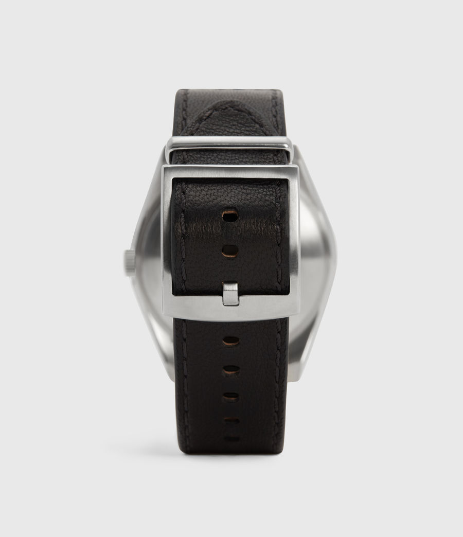Mens Untitled III Stainless Steel and Black Leather Watch (black) - Image 4
