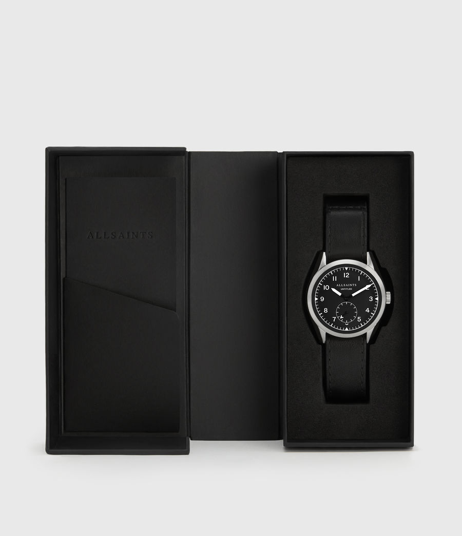 Mens Untitled III Stainless Steel and Black Leather Watch (black) - Image 5