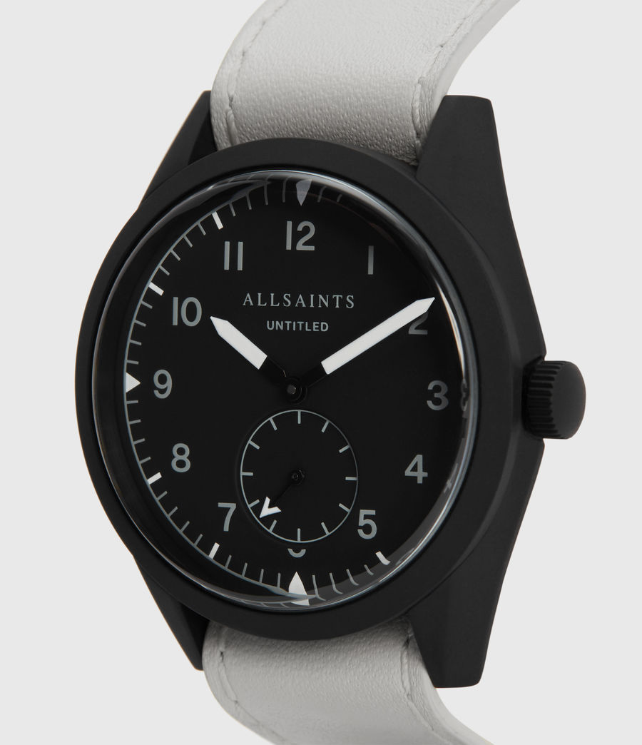 Mens Untitled IV Matte Black Stainless Steel and White Leather Watch (white) - Image 2