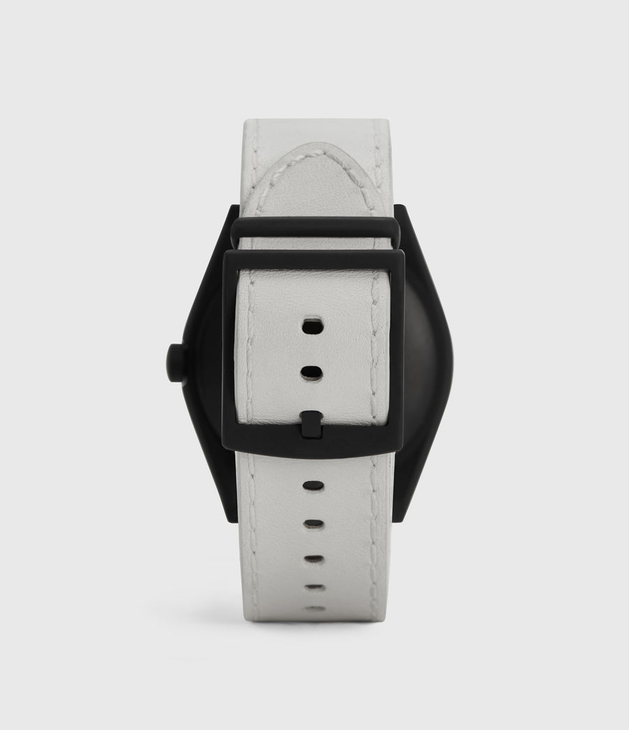 Herren Untitled IV Matte Black Stainless Steel and White Leather Watch (white) - Image 4