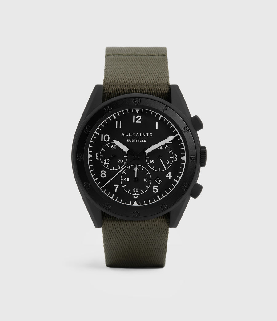 Men's Subtitled I Matte Black Stainless Steel and Military Green Nylon Watch (khaki) - Image 1