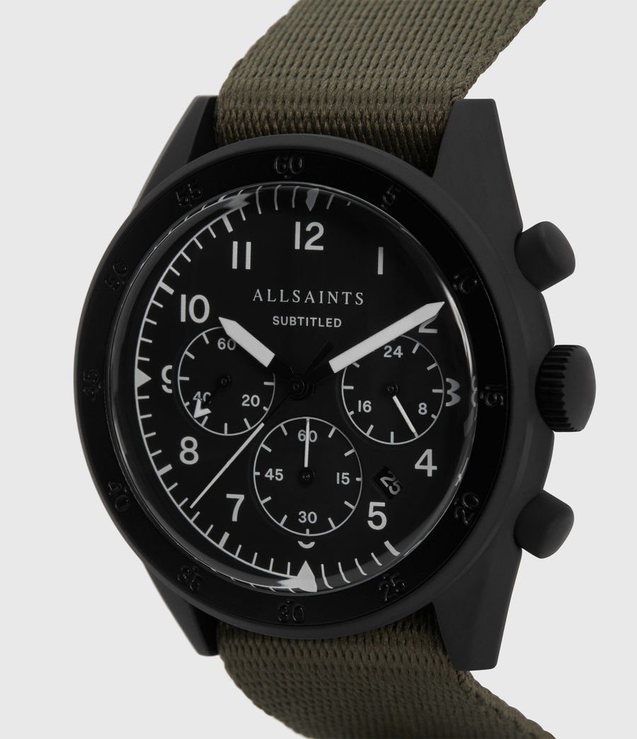 Men's Subtitled I Matte Black Stainless Steel and Military Green Nylon Watch (khaki) - Image 2