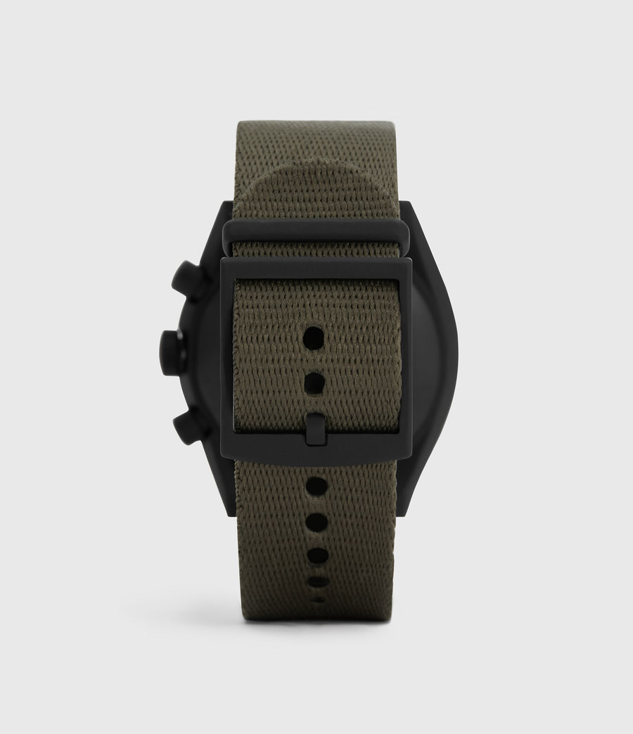 Mens Subtitled I Matte Black Stainless Steel and Military Green Nylon Watch (khaki) - Image 4