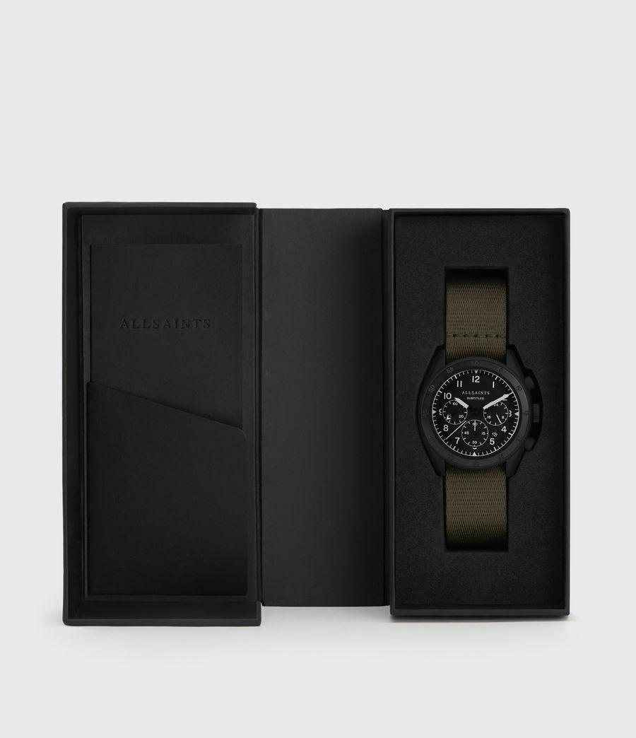 Hombres Reloj de Acero Inoxidable en Negro Mate y Náilon Subtitled I (khaki) - Image 5