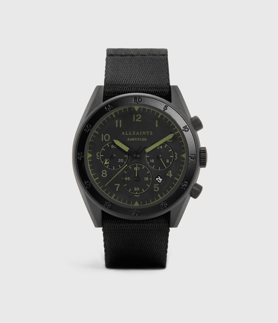 Herren Subtitled II Black Stainless Steel and Black Nylon Watch (black) - Image 1