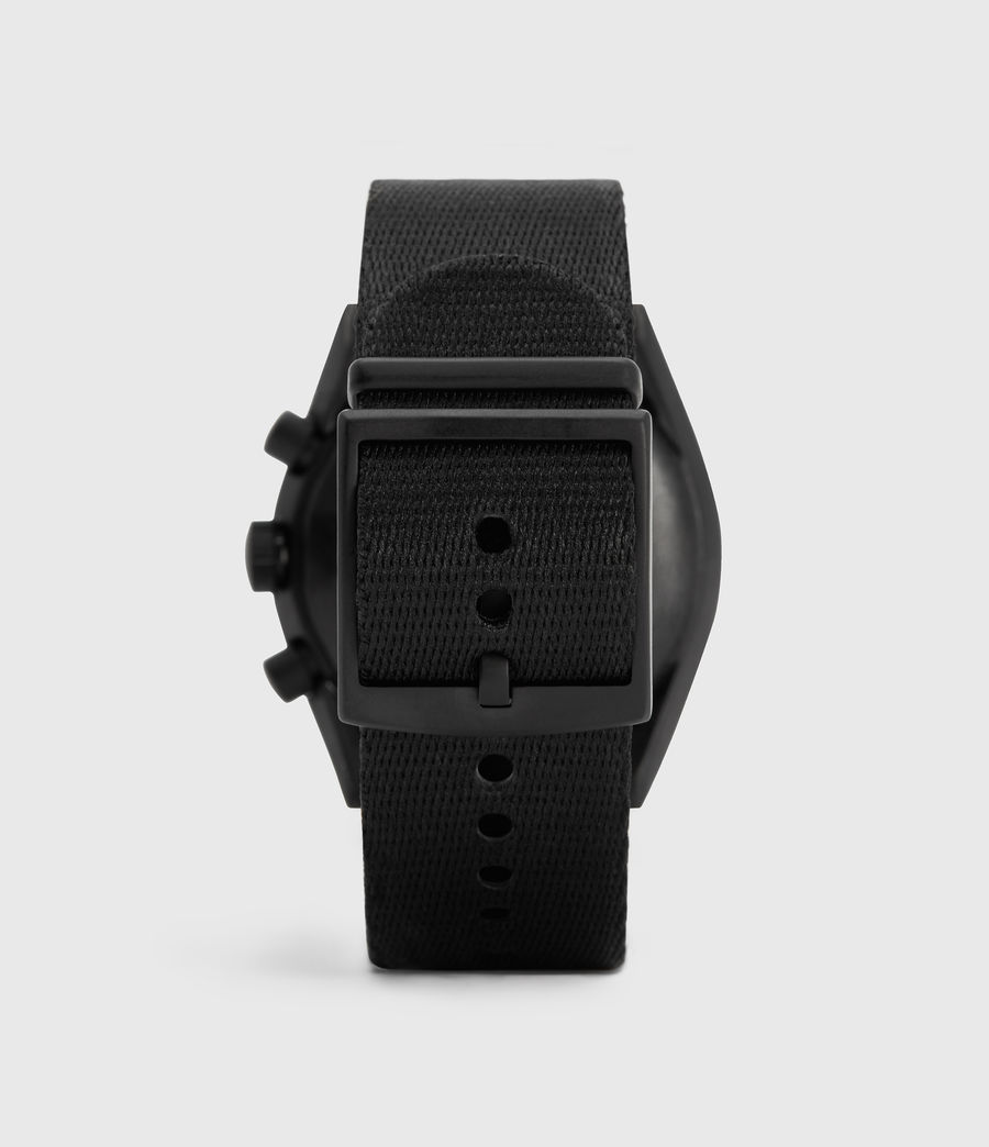 Mens Subtitled II Black Stainless Steel and Black Nylon Watch (black) - Image 4