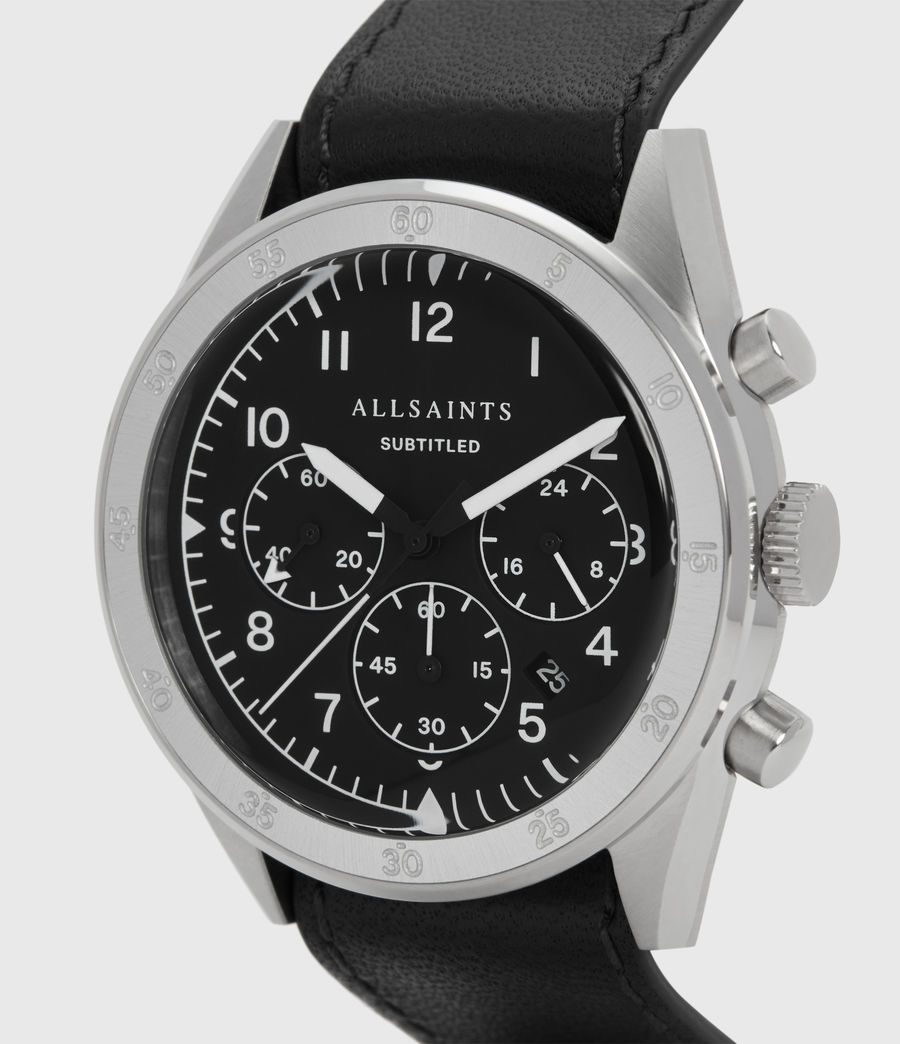 Men's Subtitled IV Stainless Steel and Black Leather Watch (black) - Image 2