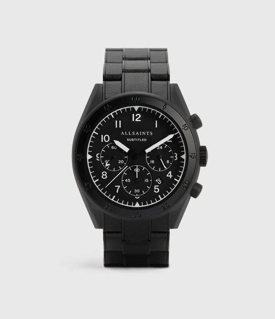 Men's Subtitled VII Black Stainless Steel Leather-Wrapped Watch (black) - Image 1