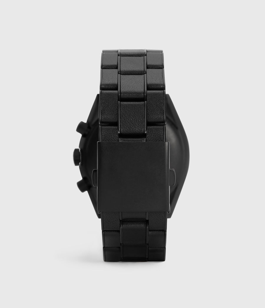 Men's Subtitled VII Black Stainless Steel Leather-Wrapped Watch (black) - Image 4