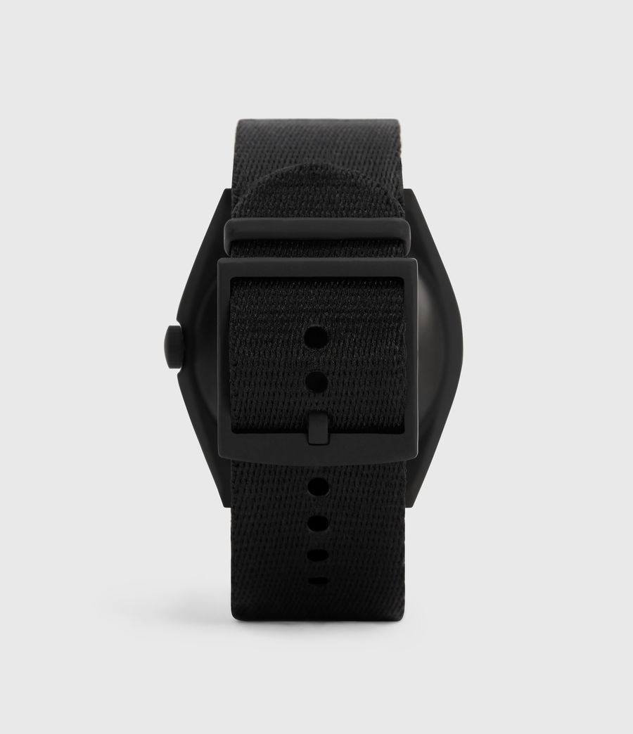 Men's Subtitled GMT I Matte Black Stainless Steel and Nylon Watch (black) - Image 4