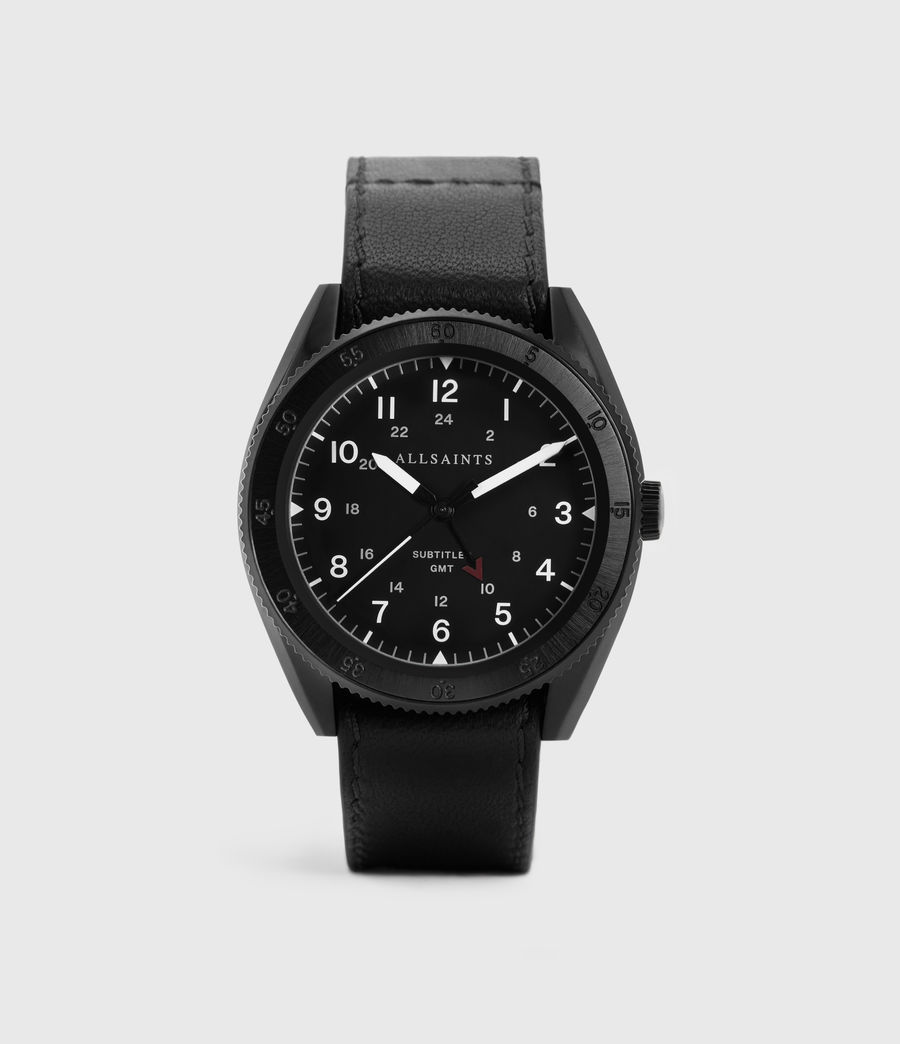 Men's Subtitled GMT III Black Stainless Steel and Black Leather Watch (black) - Image 1